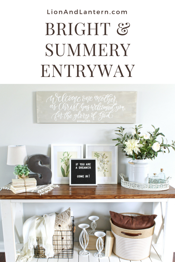 Summer Entryway Decor at LionAndLantern.com. Calligraphy sign, neutral decor, book bundles, texture, gray walls, farmhouse table.
