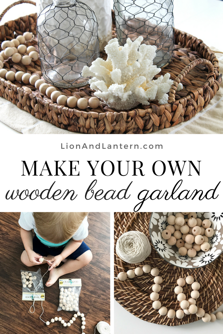 Wood Bead Garland DIY at LionAndLantern.com