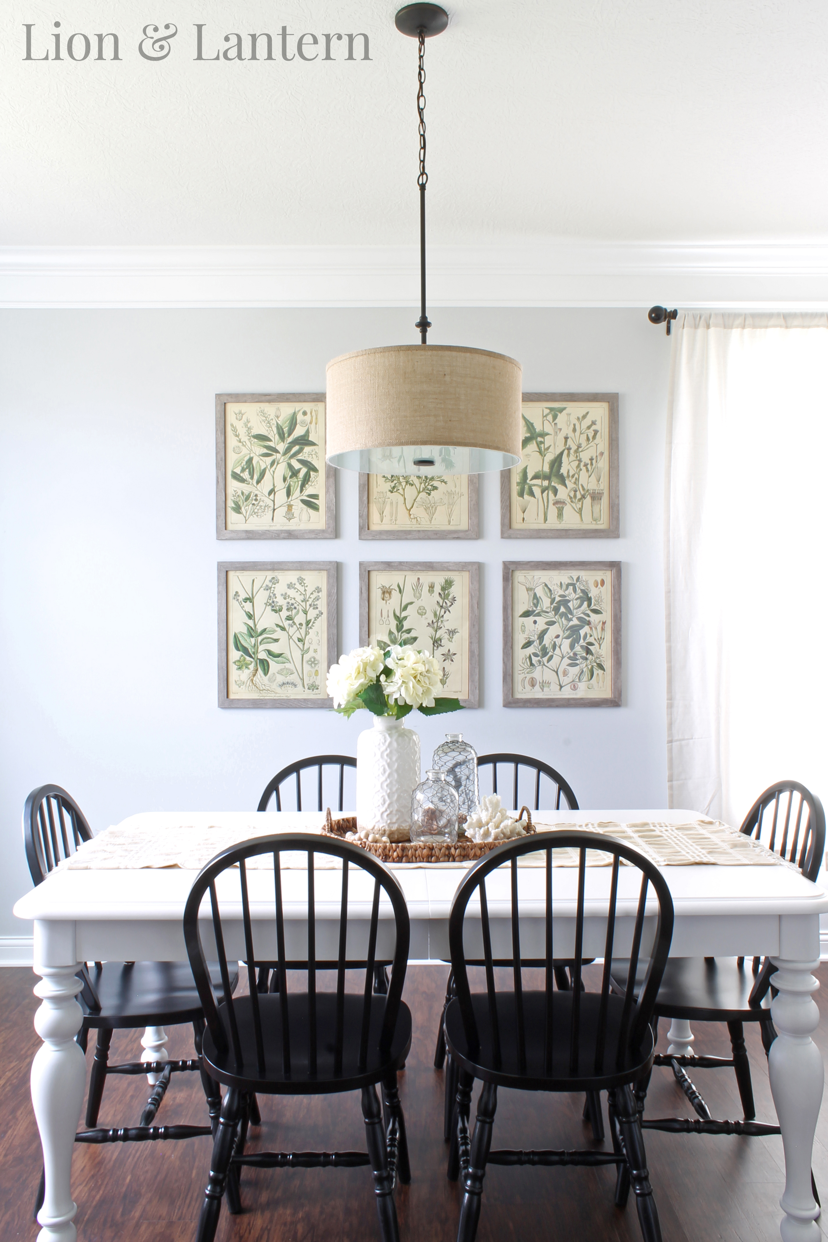 Coastal Farmhouse Dining Room At LionAndLantern Botany Prints Botanical Hydrangeas