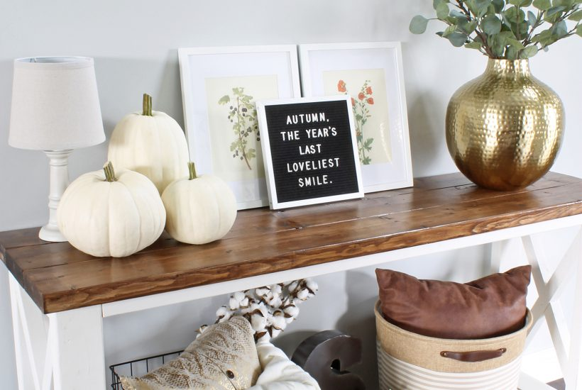 Fall Entryway Decor at LionAndLantern.com - fall decor inspiration, hammered gold vase, white pumpkins, letter board, baskets, cotton stems