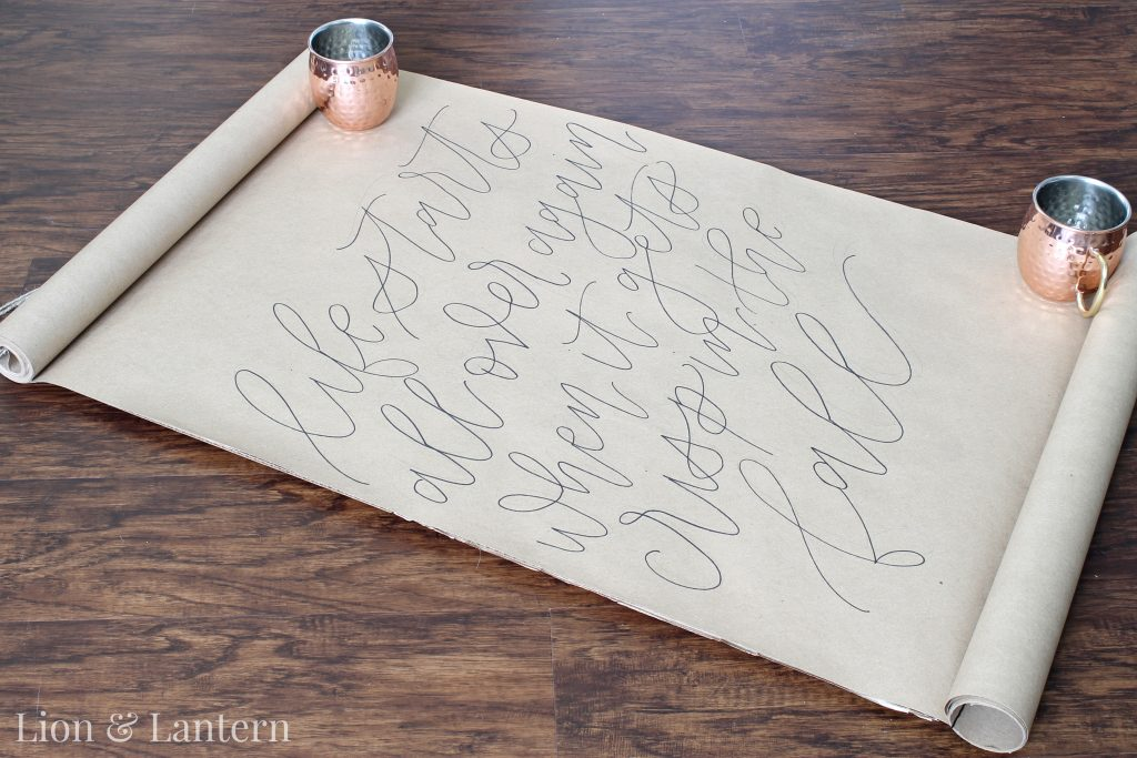 DIY Calligraphy Scroll Wall Art Tutorial at LionAndLantern.com. Budget decor, autumn decor, fall decor.