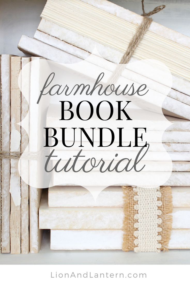 DIY Book Bundle Tutorial at LionAndLantern.com. Farmhouse Christmas, DIY Christmas decor, budget decor, thrifty, twine, ribbon, farmhouse sign.