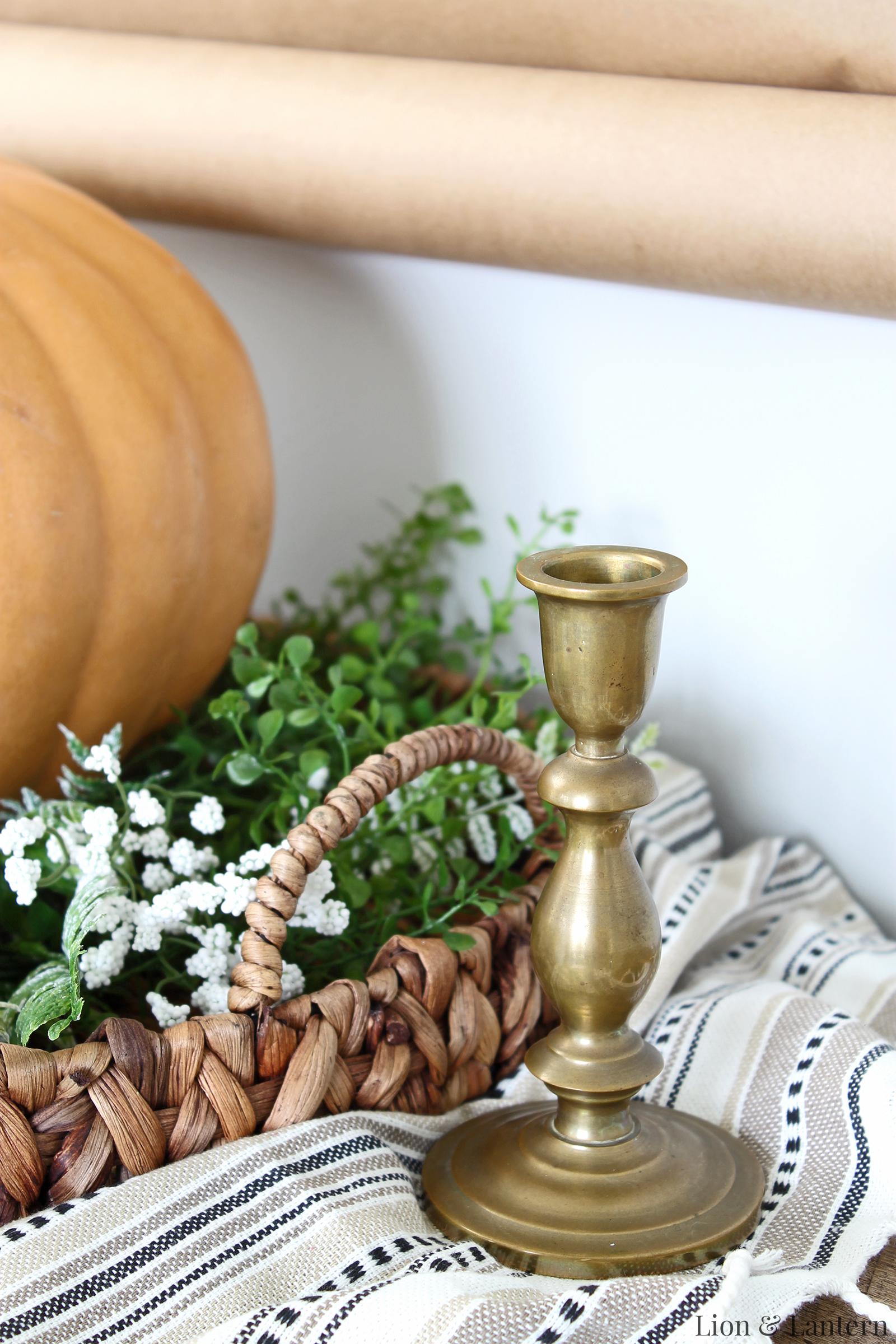 Fall Dining Room at LionAndLantern.com. Simple autumn decor, white pumpkins, greenery, candlesticks, farmhouse dining room, southern style.