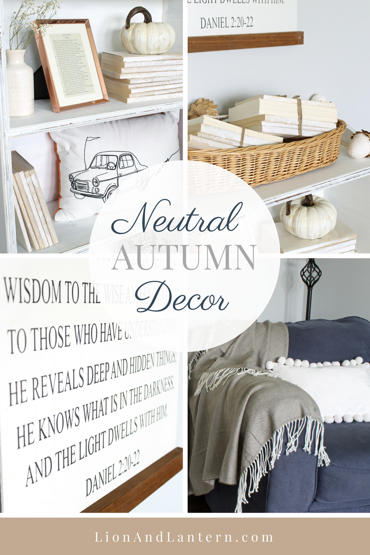 Neutral Autumn Decor. New Farmhouse Sign and Fall Bookshelf Styling at LionAndLantern.com. Autumn decor, fall decorating, book bundles, pom pom pillow, farmhouse styling