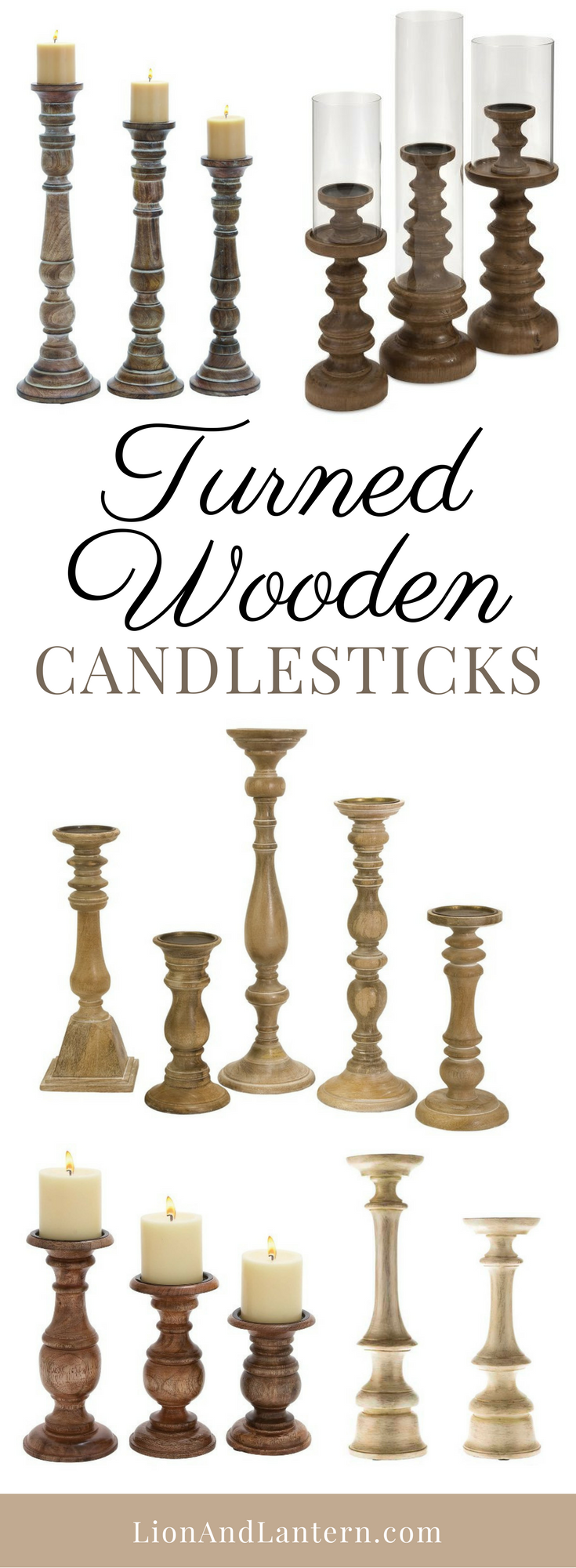 Turned Wooden Candlesticks at LionAndLantern.com. Farmhouse candlestick, candle holder, turned candle holder, rustic candle stick