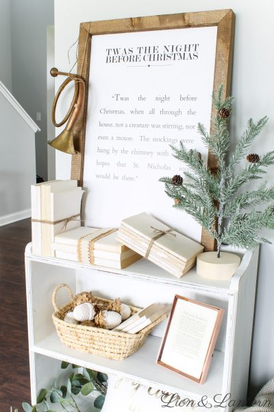 Rustic Christmas Bookshelf