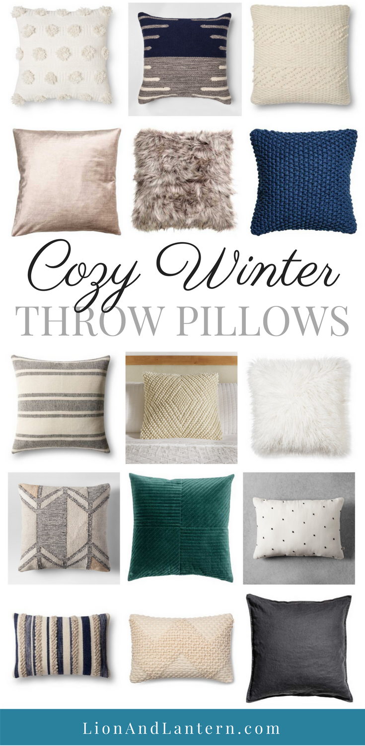 Cozy Winter Throw Pillows at LionAndLantern.com. Farmhouse throw pillows, traditional, transitional, cozy, velvet, wool, fur, winter decor.