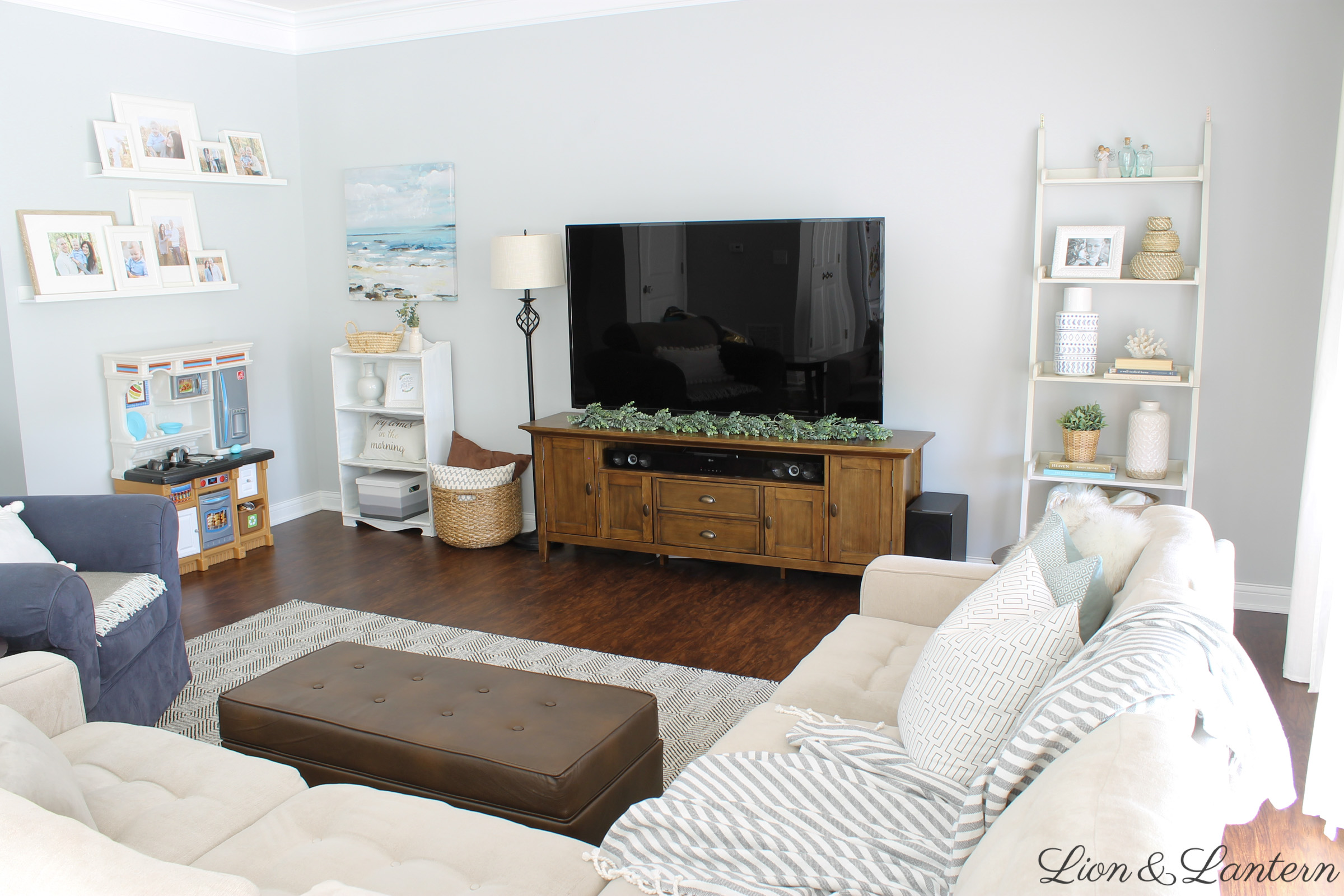 Coastal Inspired Summer Living Room | LionAndLantern.com | summer home decor, farmhouse style, southern style, cali style, throw pillows, ladder shelf