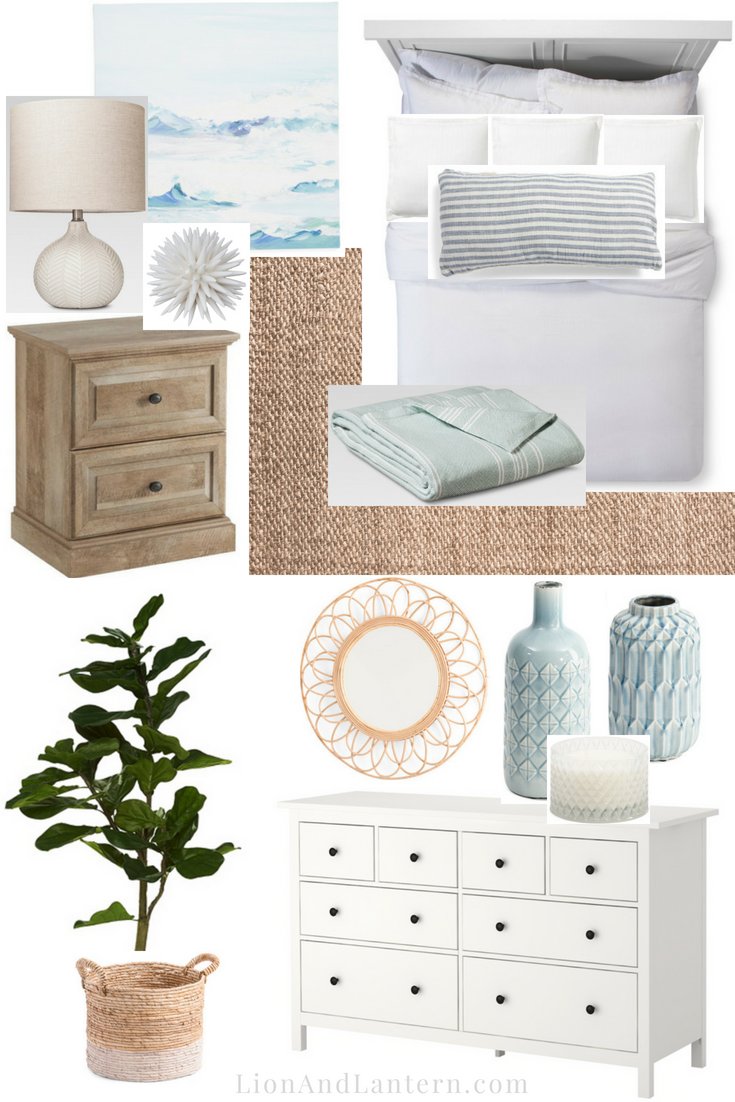 Modern Coastal Bedroom Design Plan at LionAndLantern.com | bedroom mood board, neutral, texture, jute rug, Ikea Hemnes dresser, fiddle leaf, linen bedding