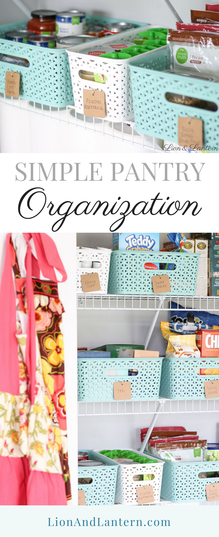 Simple Pantry Organization at LionAndLantern.com | pantry bins, budget organizing, spark joy, Target y weave baskets, food organization