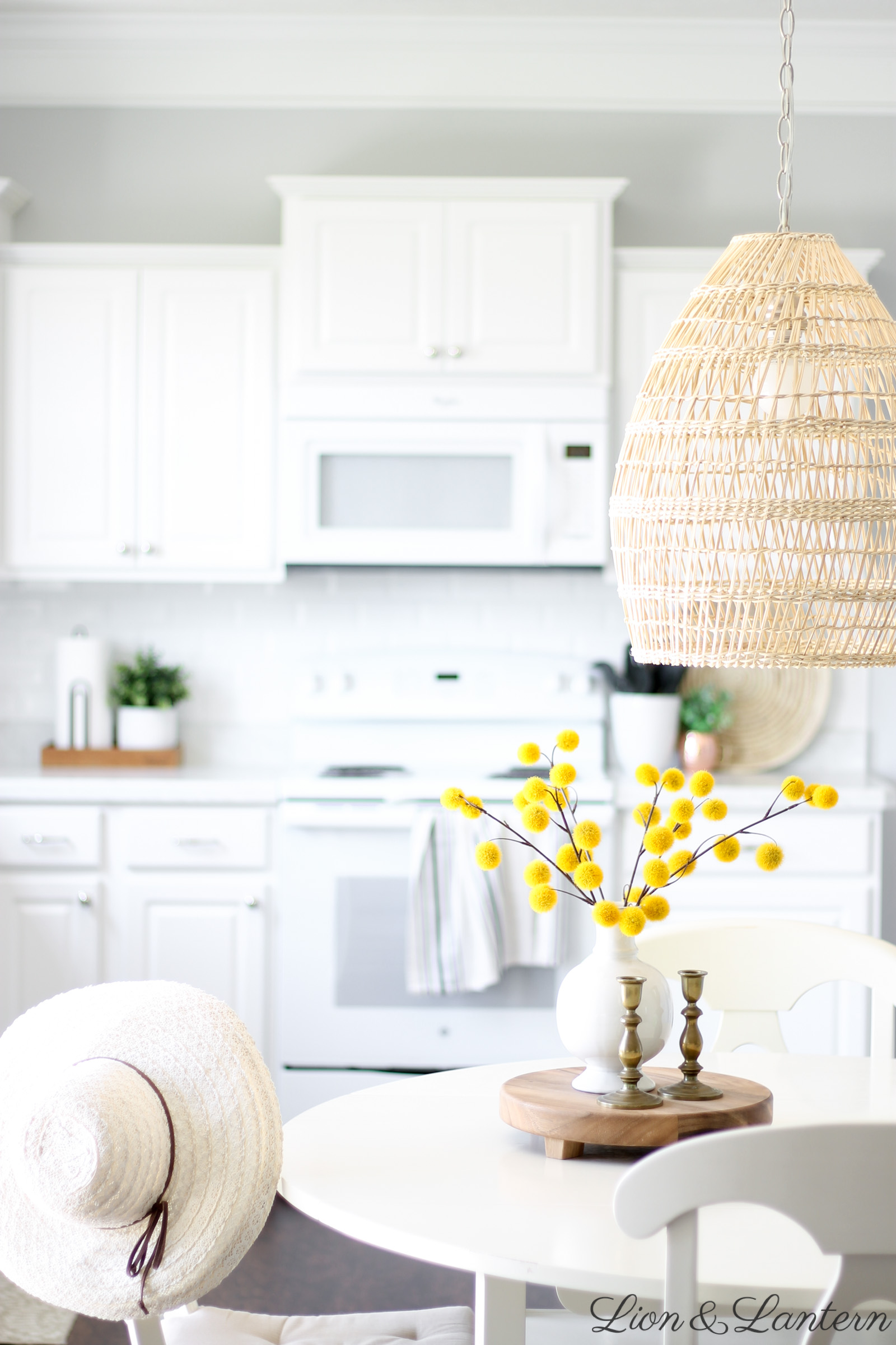 Fall Kitchen & New Textured Pendant Light at LionAndLantern.com | fall decor, autumn decor, fall inspiration, white subway tile, white kitchen, white appliances, seagrass tray