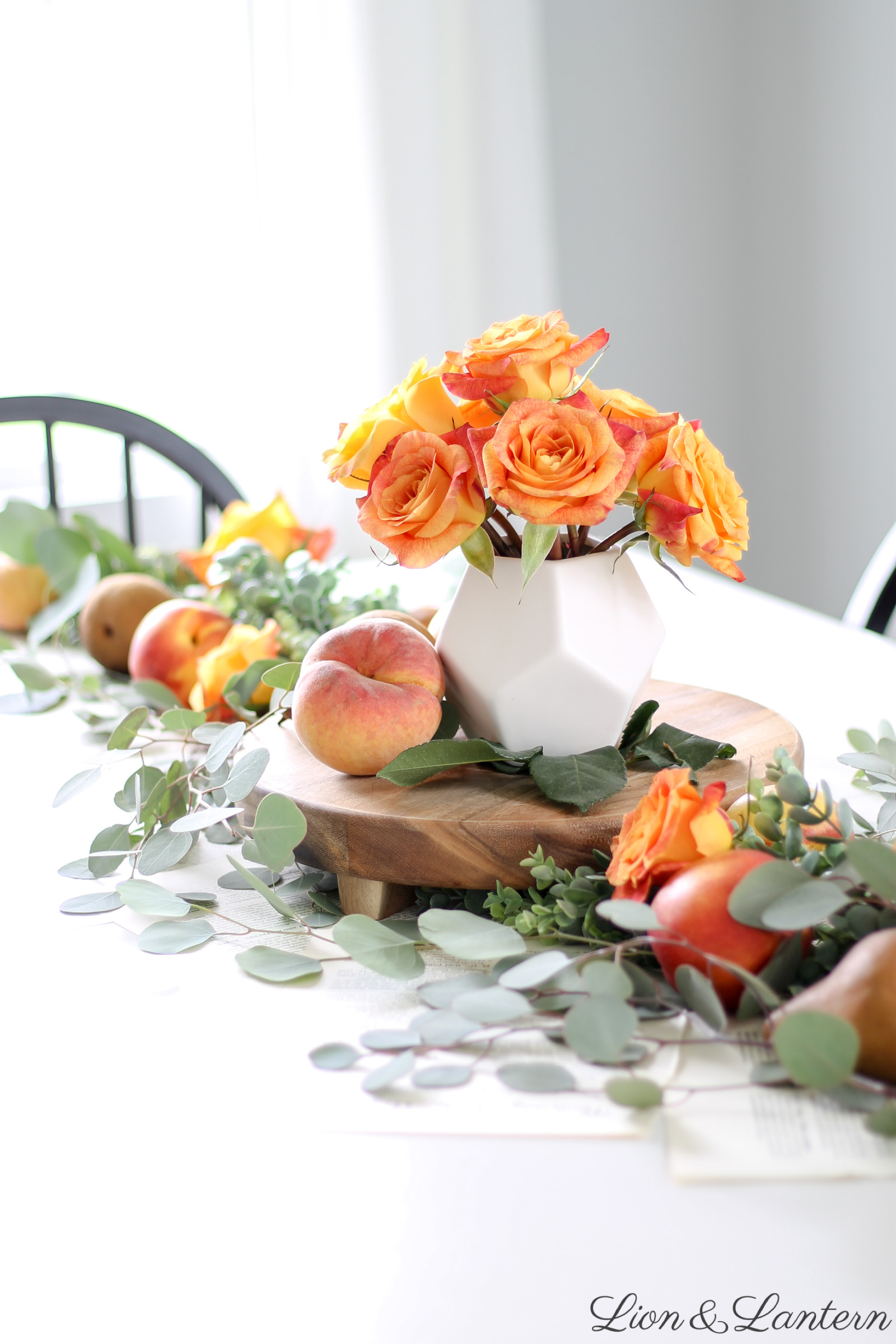 Fruit & Eucalyptus Fall Table at LionAndLantern.com | fall home tour, fall farmhouse decor, fall tablescape, autumn decor, peaches, pears, botanical prints