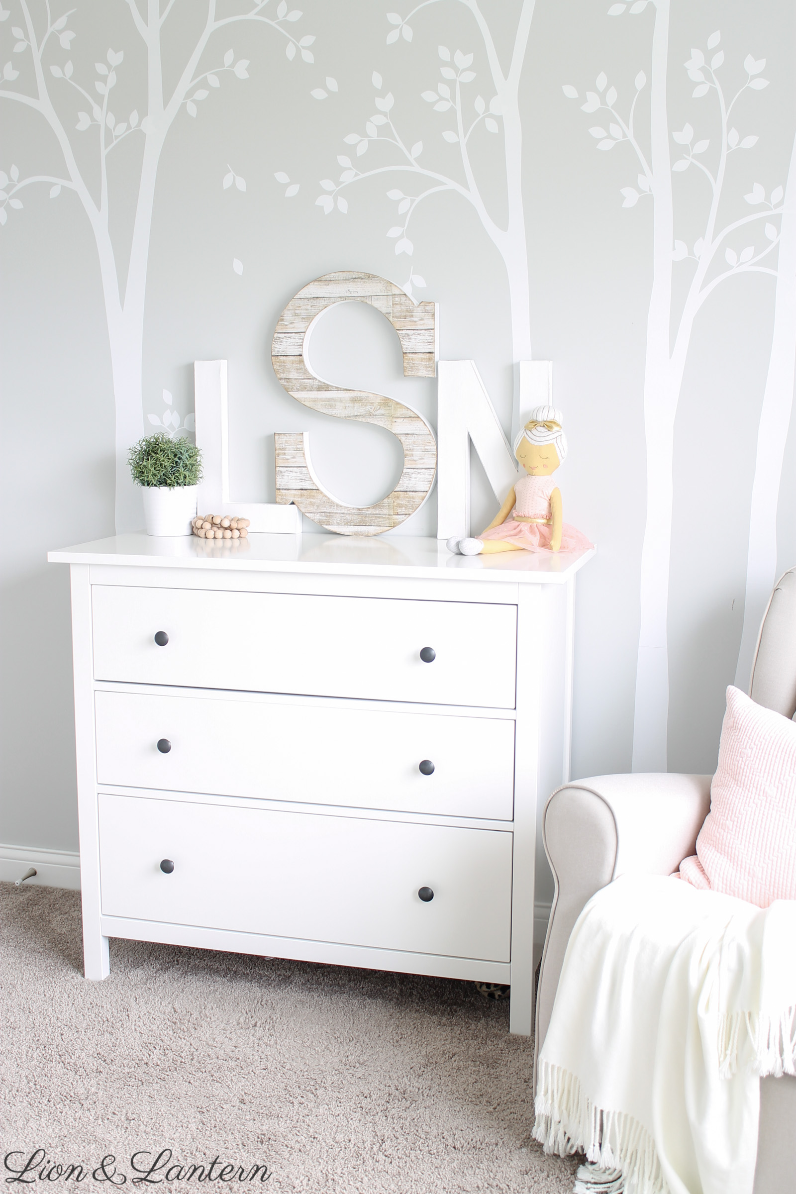 Safe Wall Letters | A Sweet Nursery Update at LionAndLantern.com | nursery wall decor, kids room wall art, safe nursery decor, pastel girl nursery, soft sweet nursery, forest tree wall decals