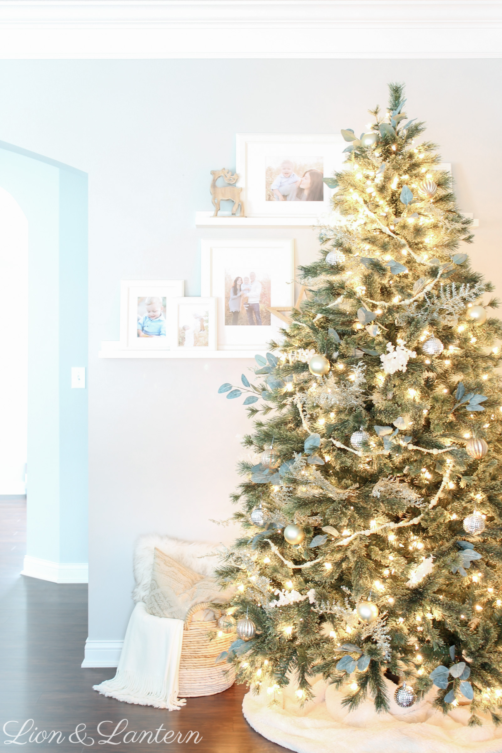 Modern Metallic Christmas Tree at LionAndLantern.com | minimalist Christmas, Scandi, bead garland, eucalyptus, cashmere tree, modern Christmas decor