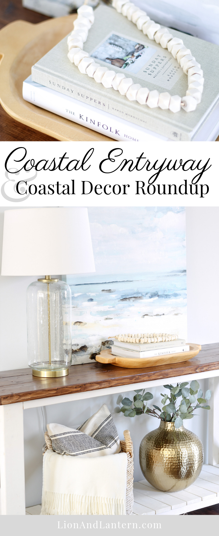 Easy Coastal Entryway & Coastal Decor Roundup at LionAndLantern.com | coastal farmhouse, coastal decor, modern, minimalist, bone beads, ocean painting, Ana White rustic x console