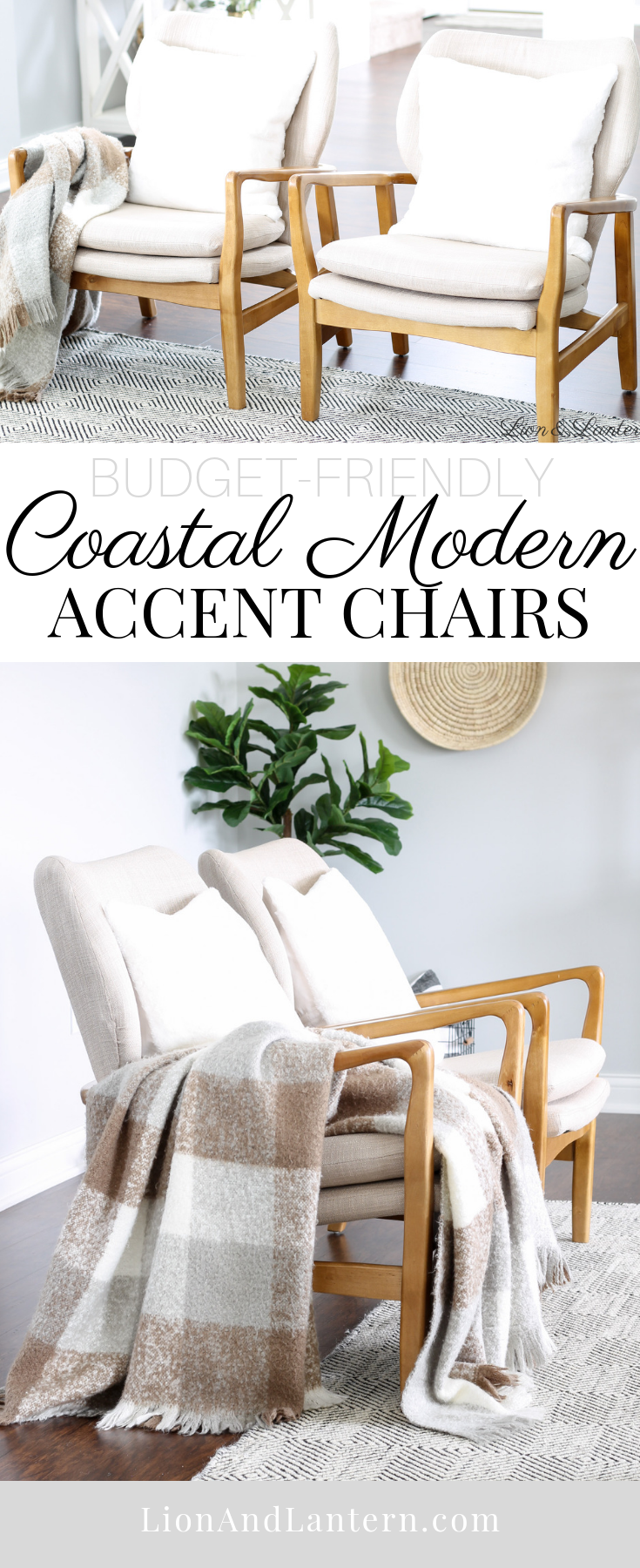 Coastal Modern Affordable Accent Chairs at LionAndLantern.com | Haddie Wood Frame Club Chair by Christopher Knight Home, modern accent chair, neutral accent chair, coastal farmhouse, bright and airy home