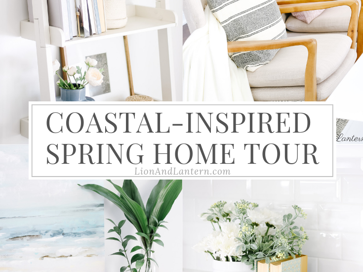 Spring Home Tour 2019 at LionAndLantern.com | coastal decor, bright and airy home, wood frame chairs, eucalyptus, modern accent chairs, budget decorating, neutral living room, ladder shelf, shelf styling