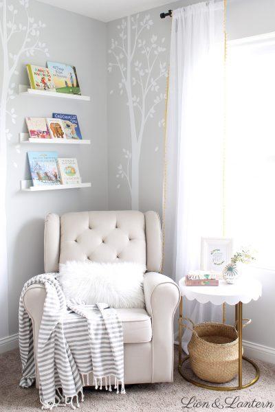 Narnia Inspired Bright & Sweet Nursery Tour at LionAndLantern.com   soft, pastel, modern, IKEA picture ledge, book ledge, rainbow baby, kids room, organized, clean