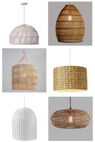 Textured Pendant Lights at LionAndLantern.com   modern hanging light, global lighting, rattan pendant light, seagrass pendant light, woven pendant light, woven shade, rattan shade