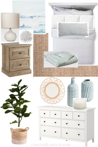 Modern Coastal Bedroom Design Plan at LionAndLantern.com   bedroom mood board, neutral, texture, jute rug, Ikea Hemnes dresser, fiddle leaf, linen bedding