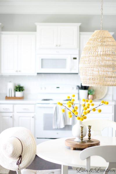 Fall Kitchen & New Textured Pendant Light at LionAndLantern.com   fall decor, autumn decor, fall inspiration, white subway tile, white kitchen, white appliances, seagrass tray