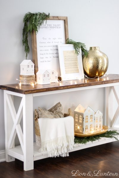 Simple Classic Christmas Entryway at LionAndLantern.com | modern farmhouse Christmas, minimalist, fresh cedar, white houses, vintage sheet music, Ana White rustic x console table, Christmas sign
